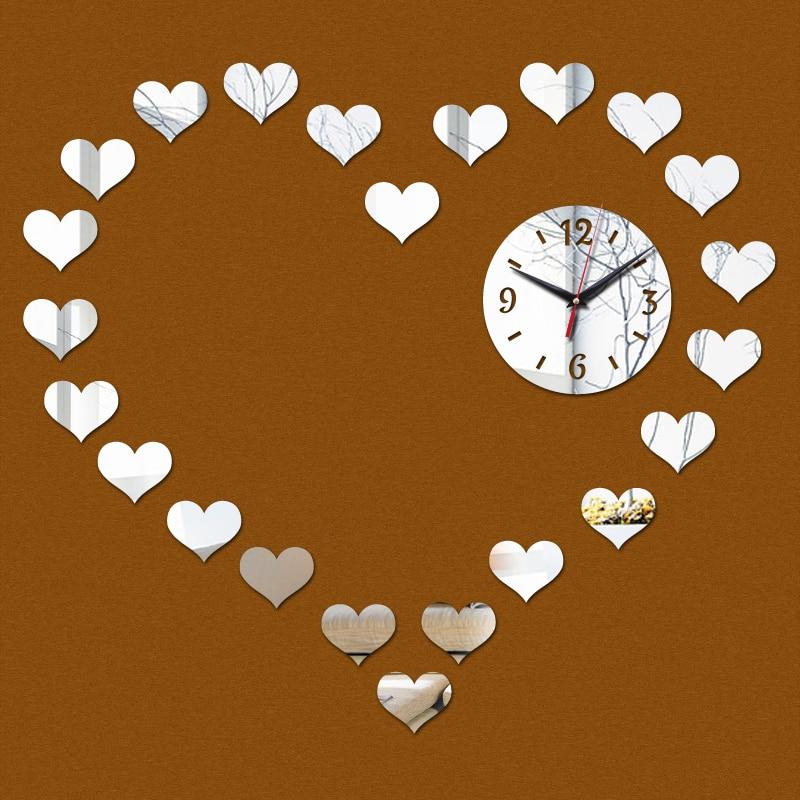 2015 limitada amor romântico acrílico de luxo moderno relógio de parede espelho de cristal 3d relógios sala frete grátis