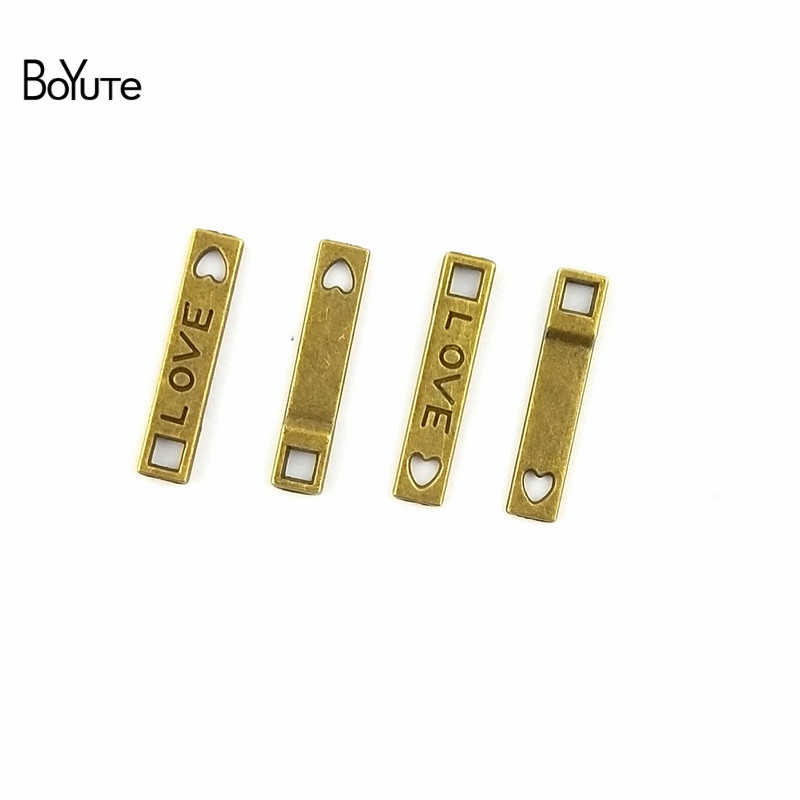 BoYuTe (100 Pieces/Lot) 22*4MM Wholesale Vintage Connector Antique Bronze Plated Zinc Alloy Word Love Connector Jewelry Findings