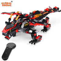 Global Drone Robots for Kids Remote Control Dragon Robot Dragon Knight Building Blocks Birthday Christmas Gift RC Toys for Boys