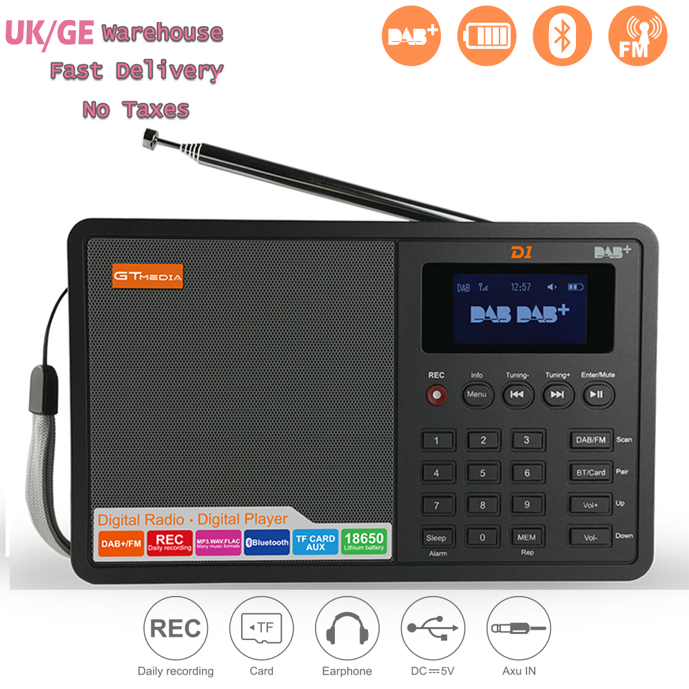 GTMEDIA D1 Portable Digital Radio FM stereo/ RDS Multi Band Radio Speaker with LCD Display Alarm Clock From UK Germany Itlay