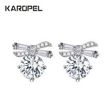 Romantic Bowknot Zircon Stud Earrings Real Cubic Zirconia Round Crystal For Women
