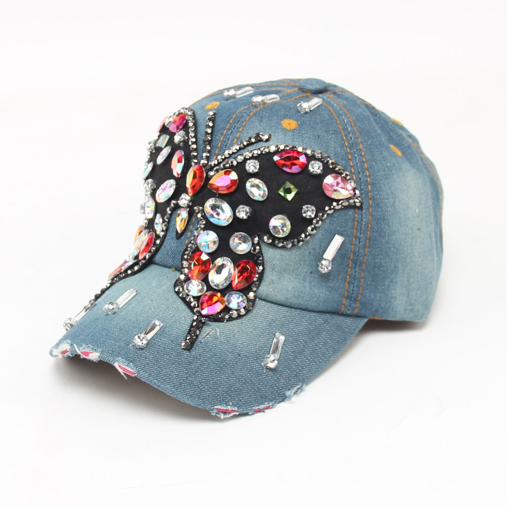 Iftec Jeans Baseball Caps Big Rhinestone Butterfly Vintage Style ... f56922e4713a