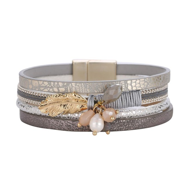 ZG Fashion Alloy Feather Leaves Wide Magnetic Leather bracelets & bangles Multilayer Bracelets Jewelry for Women Men Gift