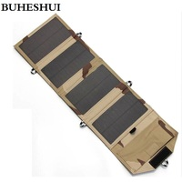 BUHESHUI 8W Portable Solar Charger for Mobile Phone iPhone Solar Panel Charger Foldable Solar USB Battery Charger High Quality