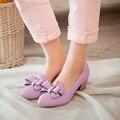 Женская мода насосы обувь обнаженной толстый каблук женской обуви острым носом каблуки женщины свадебная обувь фиолетовый дамы кожаные ботинки женщин