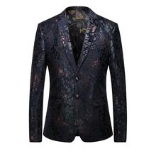 2017 new High quality casual Gold embroidery suit men Business blazer jacket Men's fashion single breasted blazers size M-3XL