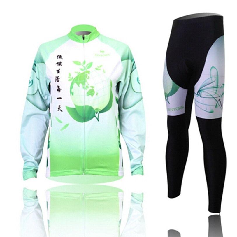 Hot XINTOWN Women Bike Long jersey Pants green Life Pro Team Cycling clothing Riding Top MTB Wear Long Sleeve Shirts
