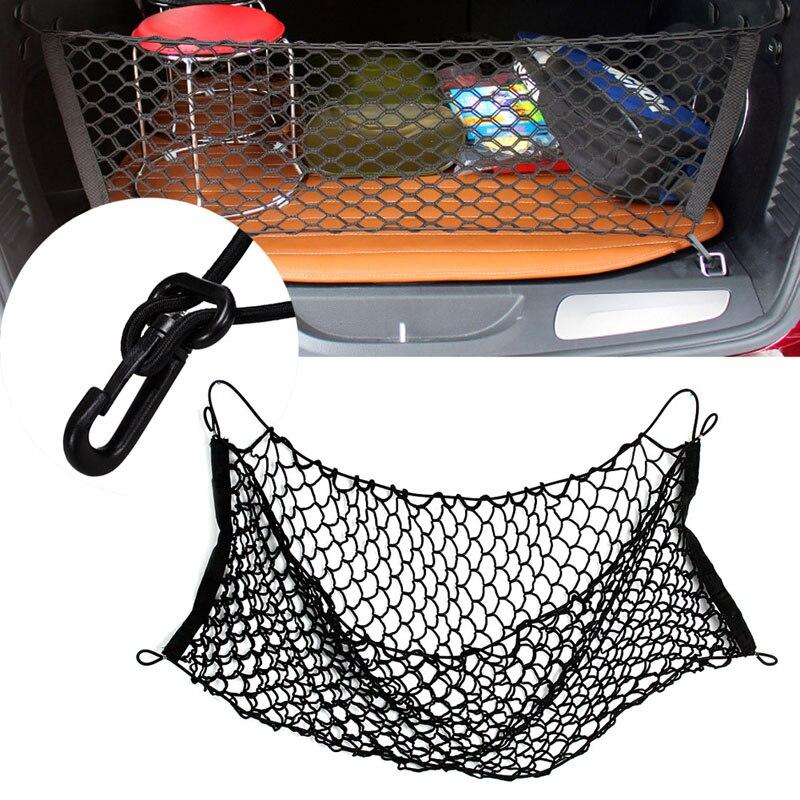 Stamm Auto Hinten Cargo Organizer Lagerung Elastische Träger Mesh Net Nylon 90x40 cm Auto Innen Lagerung Taschen Verstauen aufräumen