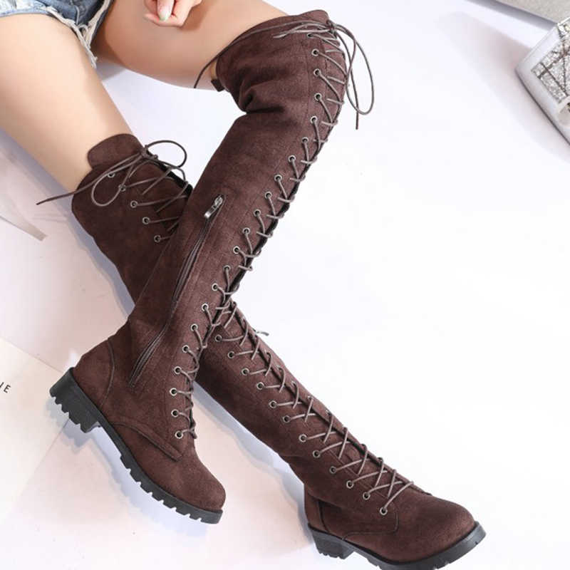 COOTELILI Thigh High Boots Lace Up