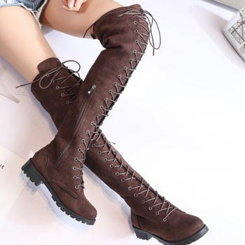 COOTELILI Thigh High Boots Lace-Up Women Shoes Over The Knee Boots Flat Long Boots Ladies Rubber Boots Women Shoes 35-43 hot selling denim lace flower hollow out over the knee long boots thigh high stiletto heel boots platform high quality shoes
