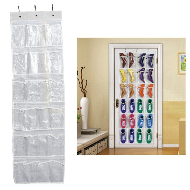 Hanging Over Door Holder Shoe Organizer Storage Rack Wall Closet Bag Space  Saver Pouches 24 Holes