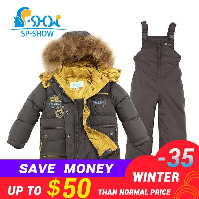 BUY 1 SUIT GET 1 FREE SCARF -30 degrees SP-SHOW Winter 90% White down suit nature fur hat Thick Warm Down suit For 2-6 Age suit billionaire suit page 6