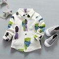Otoño Invierno de Los Niños Embroma la Camiseta Geométrica de Manga Larga Baby Boy Camiseta de La Camiseta Gruesa Muchachos Da Vuelta-abajo la Ropa para Caballero
