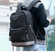 canvas backpack men Casual Back Pack USB High school bags for Teenagers Boys Schoolbag teens black
