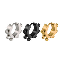 Trendy Gold Silver Color High Quality Stud Earrings For Women Men Stainless Steel Titanium Round Ear Clip Fashion Jewelry
