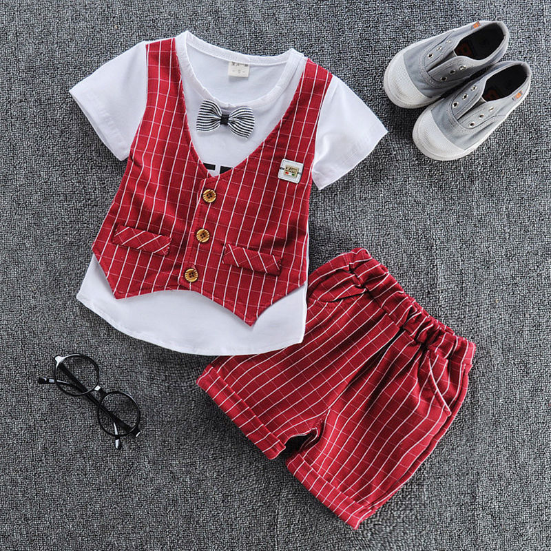 2017 Baby Boys Clothing Set Gentleman Boy Clothes Toddler Summer Casual Children Infant T-shirt+Pants 2Pcs Boy Suit Kids Clothes  baby boys suits clothes gentleman suit toddler boys clothing infant clothing wedding birthday cotton summer children s suits