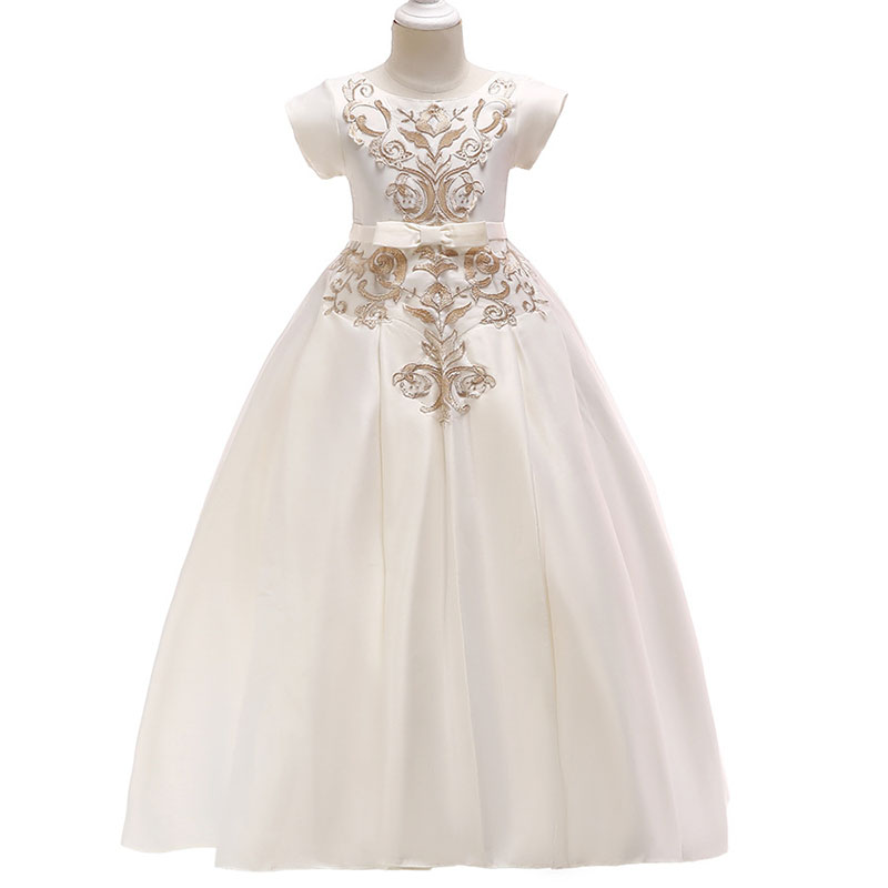 2019 Children's long party   dress     flower     girl     dress   for wedding first communion princess embroidery   dress   baby costume clothing