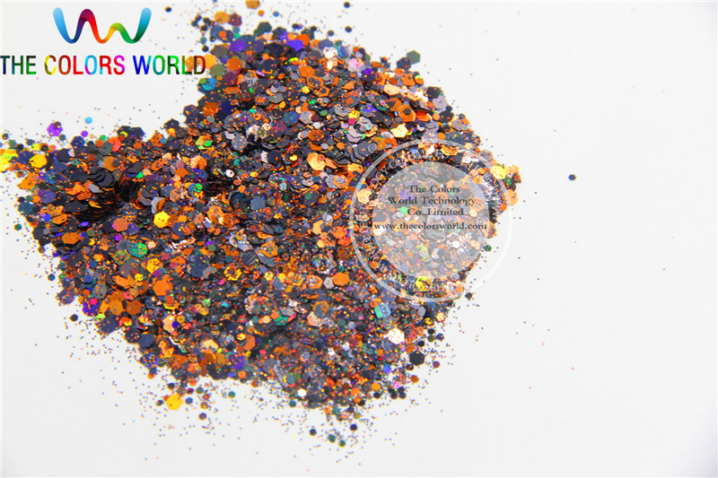Halloween Glitter-6  Mix Holographic colors  Hex shapes spangles for Nail Art or other DIY decoration 1pack=50g tcf510 solvent resistant neon rose carmine color mickey mouse shape spangles for nail polish and other diy decoration1pack 50g