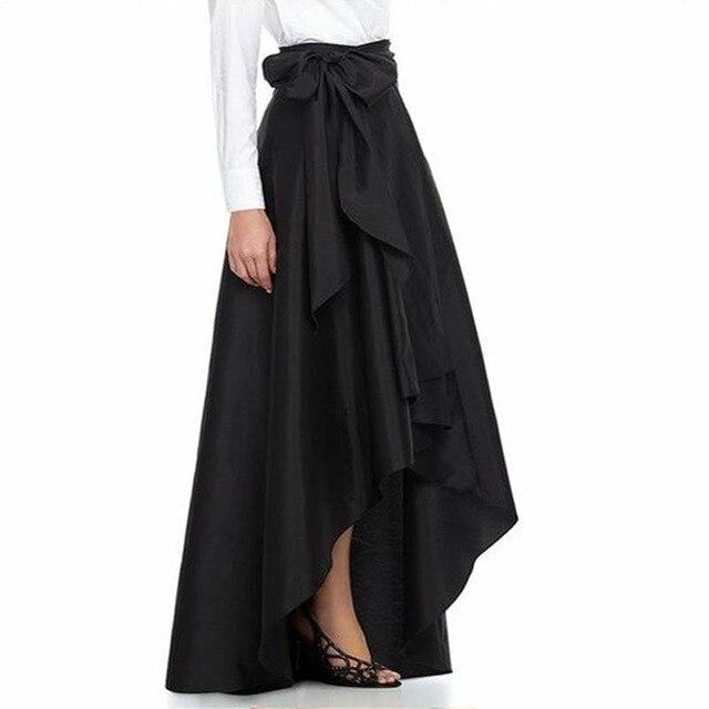 456e46568f6 Glam Высокая Низкая Для женщин макси Юбки для женщин с Пояса лук  индивидуальный заказ Элегантный тафта