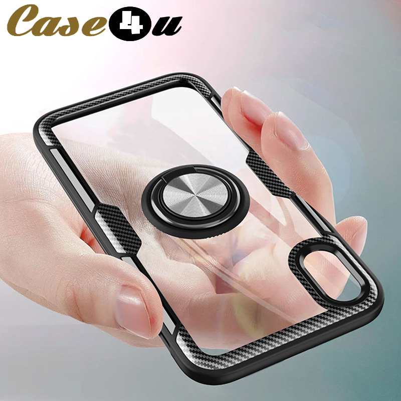 Transparent Glass Car Bracket Ring Stand Phone Cases For iPhone 10 6s 7 8 Plus XS MAX XR X 8Plus Soft TPU Silicone Bumper Cover(China)