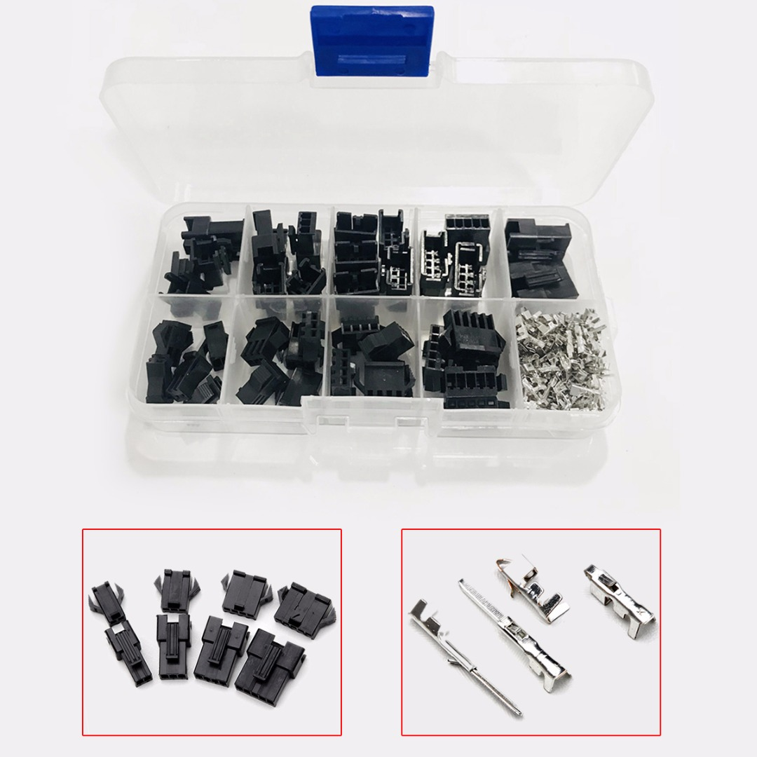 200pcs 2/3/4/5 Pin Black Housing Terminals Wire Connectors Kit Male/Female Housing Connectors with Box For Electronic Products diy hf 4 pin male female jack set adapters connectors black silver 2 pcs