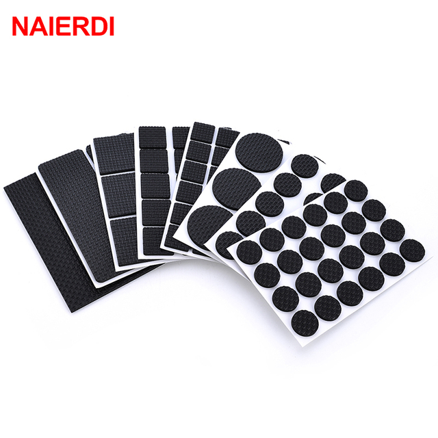 NAIERDI 1 24PCS Self Adhesive Furniture Leg Feet Rug Felt Pads Anti Slip  Mat Bumper
