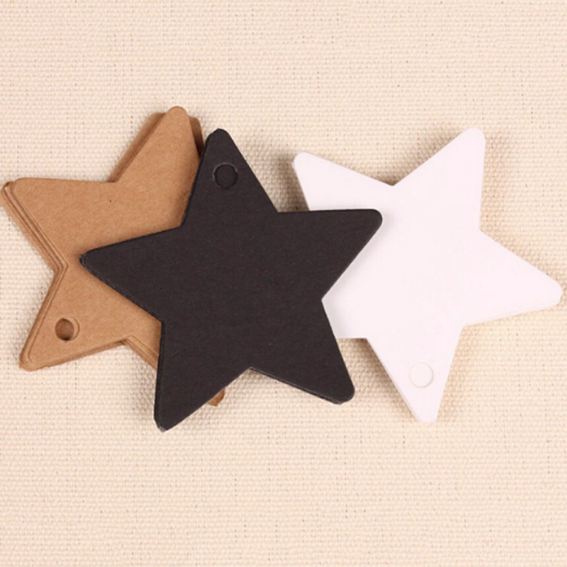 100Pcs/pack Cute Star Kraft Paper Label Wedding Christmas Halloween Party Favor Price Gift Card Luggage Tags