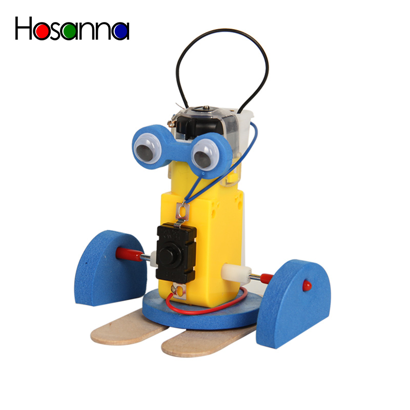 Kids DIY Wooden Science Toy Robot Model Kit Preschool Toys Little Yellow Walking Physics Learning Educational Toys for Children figurine