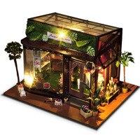 DIY Кукольный дом Миниатюрный Кукольный домик с мебелью красивый цветочный магазин игрушки для детей Новый год Рождественский подарок