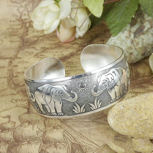LIN STUDIO Vintage Antalya Boho Statement Jewelry Charm Antic Silver Cuff Love Bangle Bracelet Indian Bangles Bracelets Womens
