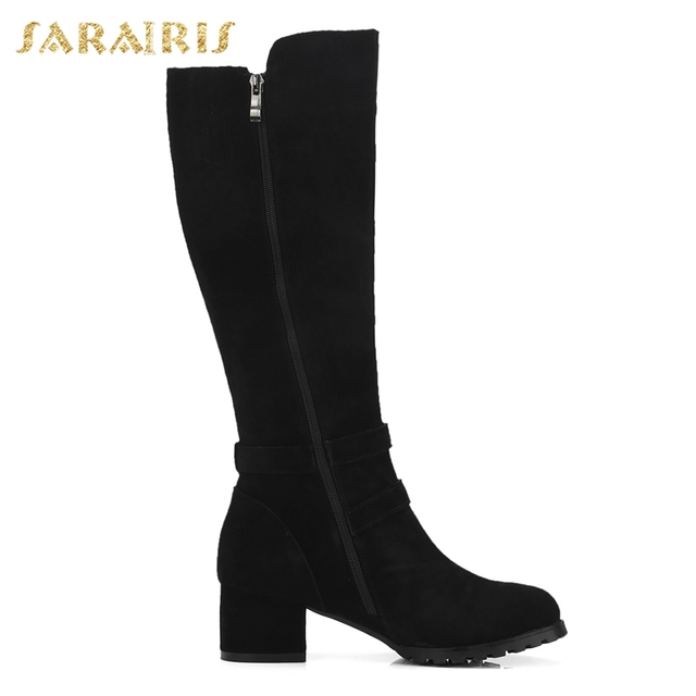 SARAIRIS Cow Suede New Zip Up Shoes Woman Boots Hot Sale Square Heels Add Fur Mid Calf Boots Woman Shoes Winter Size 34-40 3