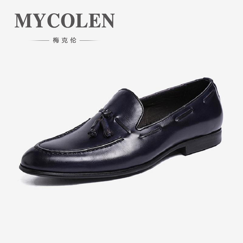 MYCOLEN Leather Fashion Men Shoes Handmade Casual Dress Oxford Shoes Brand High Quality Flats tassel and leather casual Shoes zxq brand handmade new winter men oxford shoes solid color high quality retro british style men flats leather shoes