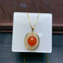 shilovem 18K rose Gold real Natural south Red agate pendants no necklace fine plant Jewelry classic gift  mymz9.5-10189nh