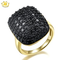 Natural Black Spinel Ring Solid 925 Sterling Silver Cluster Rings Fine Jewelry Women S Gift