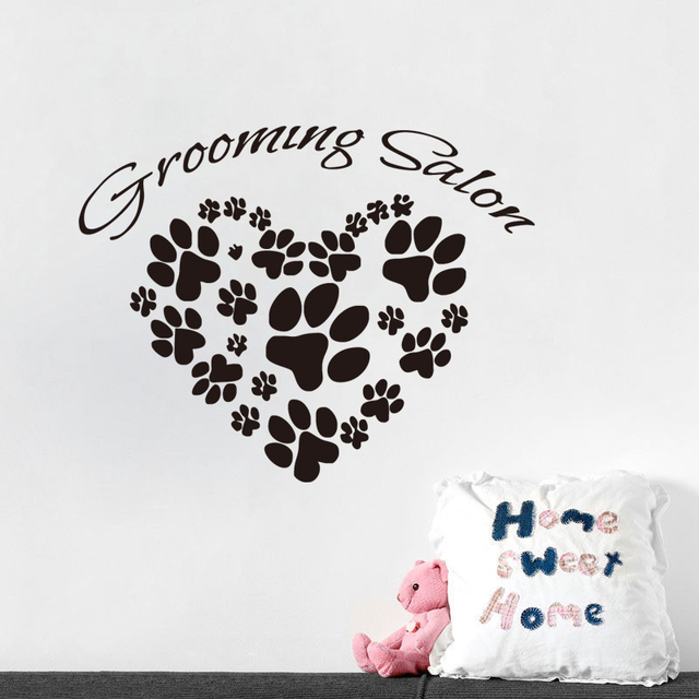 grooming salon wall stickers animals paw prints sticker wall decals
