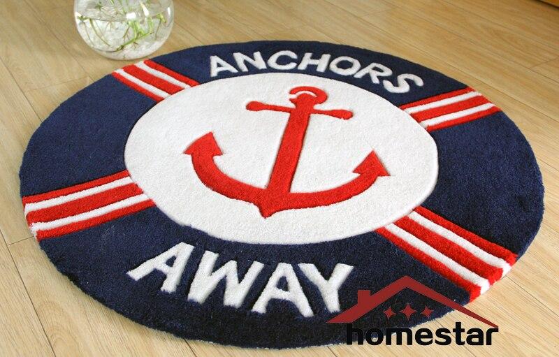 80x80cm Navy <font><b>Blue</b></font> Handmade Round Rug Nautical Home Decorative Carpet Children kids room Rugs Playing Mat Beach Carpets Quality