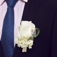 White Rose Groomsman Party Prom Wedding Flowers  Wedding Best Man Rose Boutonniere Branches Mix colors Corsage Pin Groom