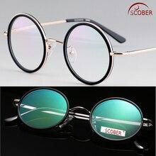 SCOBER = винтажные 40S круглые высококлассные очки для чтения с антибликовым покрытием, очки из титанового сплава+ 0,75+ 1 до+ 4