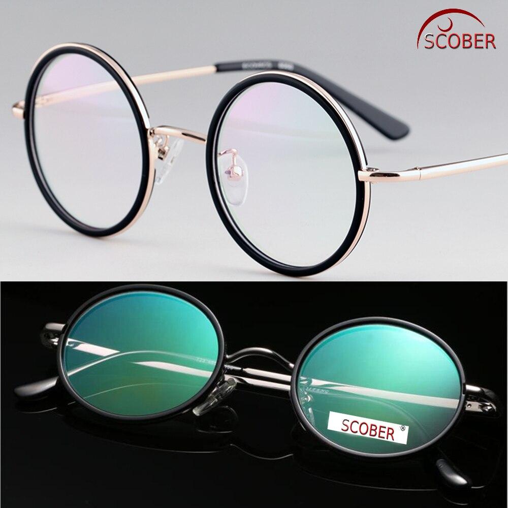 SCOBER = 40 S DO VINTAGE Rodada CLASSE SUPERIOR do Senador Antireflexo Revestido Óculos de Liga de Titânio Óculos de Leitura + 0.75 + 1 A + 4