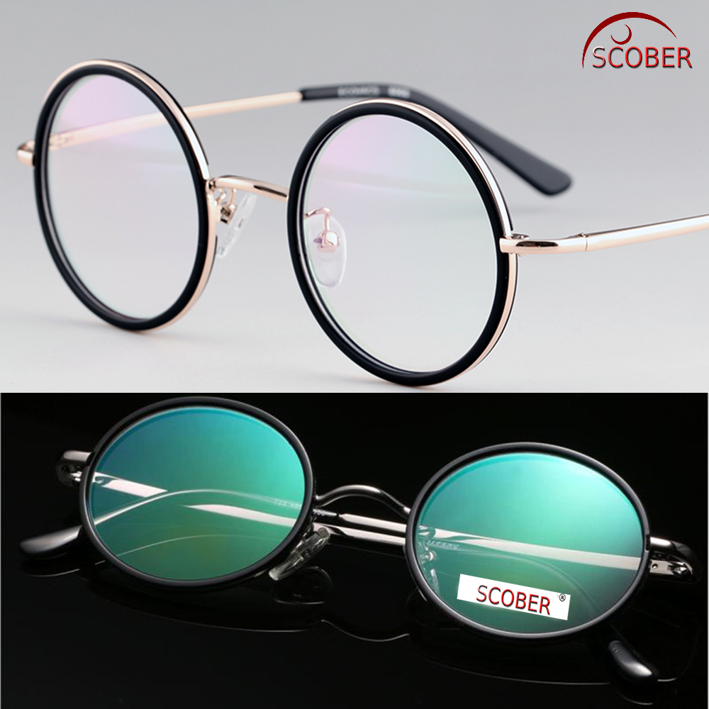 SCOBER = VINTAGE 40S Okrągła klasa górna Senator's Anti-Reflexion Coated Reading Glasses Titanium Alloy Spectacles +0,75 +1 TO +4