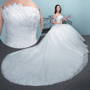 Image 3 - 2019 롱 트레인 웨딩 드레스와 함께 새로운 럭셔리 다이아몬드 섹시한 Strapless 아플리케 플러스 사이즈 맞춤 웨딩 드레스 로브 드 Mariee 패