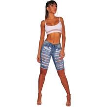 Summer new hot fashion ladies jeans slim high waist hole female hip hop casual five pants thin cuffed