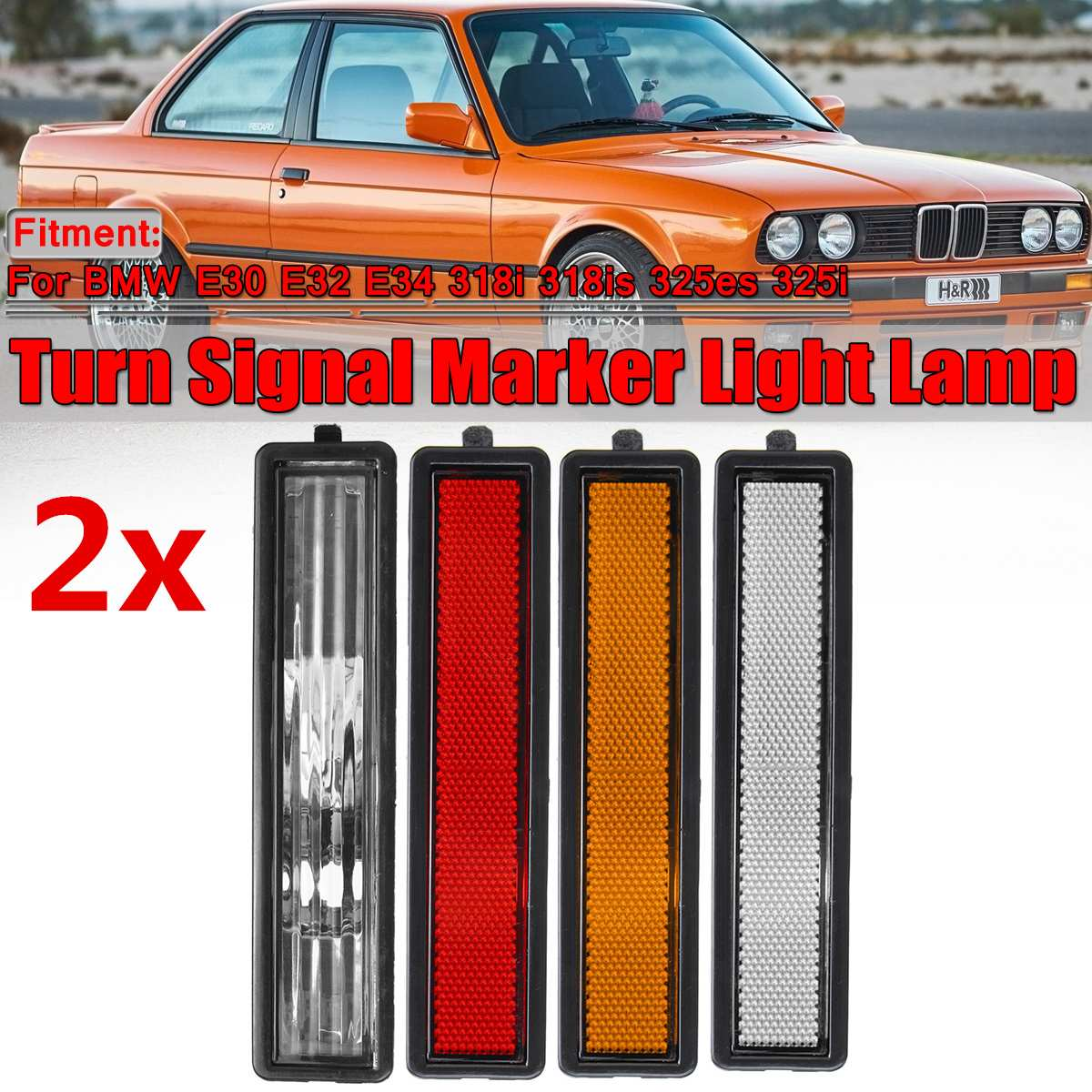 2pcs Car Rear Left Right Side Turn Signal Marker Light Lamp Lens Cover For <font><b>BMW</b></font> <font><b>E30</b></font> E32 E34 <font><b>318i</b></font> 318is 325es 325i 63141377849 image