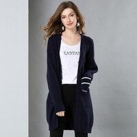 Осень Зима Высокое качество для женщин кашемировый кардиган плюс размеры Свободное пальто женский с длинным рукавом вязаный свитеры для
