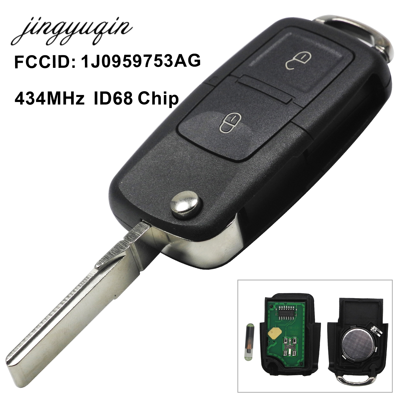 jingyuqin 2/3/4 Button Flip Remote Key Fob 434MHz ID48 Chip For VW Beetle Bora Golf Passat Polo Transporter T5 1J0 959 753 AG
