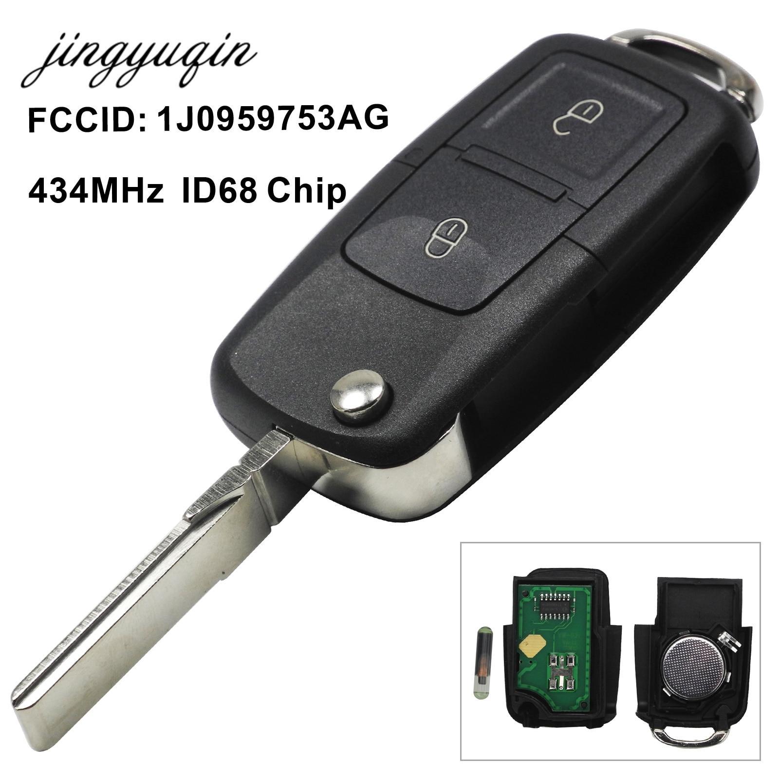 jingyuqin 2/3/4 Button Flip Remote Key Fob 434MHz ID48 Chip For VW Beetle Bora Golf Passat Polo Transporter T5 1J0 959 753 AG