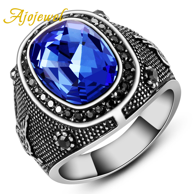 Ajojewel Brand  Size 8-11.5Luxury Man Jewelry Accessories Antique Silver Plated Blue Crystal Stone Ring Men