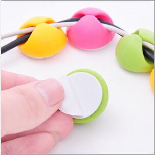 Desk Wire Organizer USB Charger Cord Holder Earphone Cable Winder Pen Holder Clip 1000pcs lot