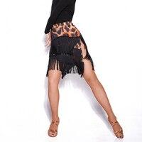 Latin Dance Skirt Tassel Split Ice Silk Tango Skirt Clothing Women Large Size Competition Performance Practice Dancewear DN1419