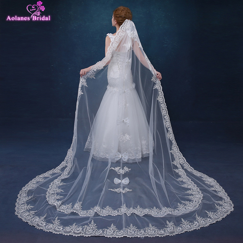 AOLANES  Ivory 3 Meters Long Cathedral Bridal Veils 2 layers bowknot 3D Flowers Appliques Lace Edge Wedding Veil With Comb 2017